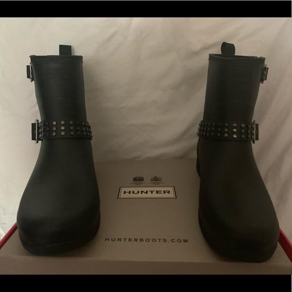 6ddf6869d96 Hunter Shoes   Womens Refined Stud Biker Rain Boots   Poshmark